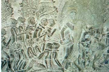 アンコール・ワット内部の壁画。ラーマヤナ神話を描いている。